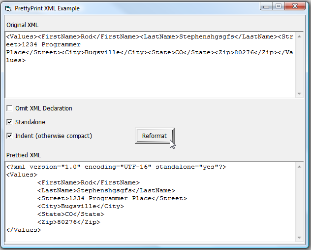 how to add an indent in xml