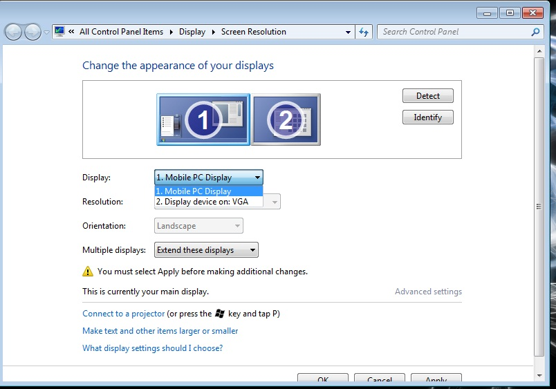 Windows 7: How to properly extend desktop for Projector