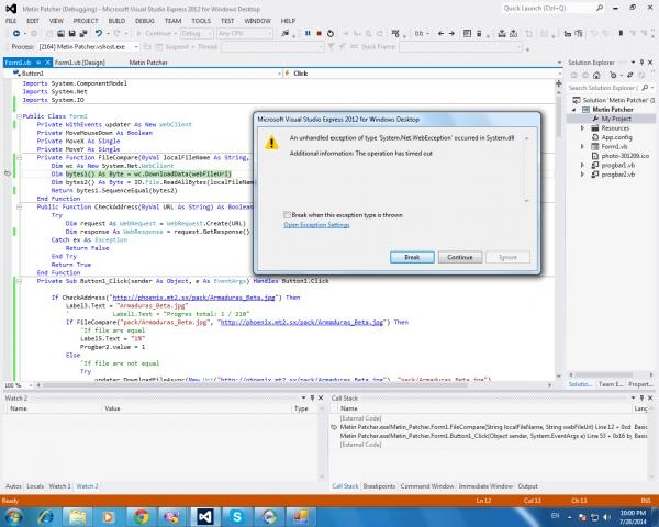 VS 2012] The operation has timed out-VBForums