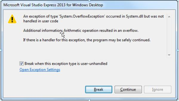 VS 2013 Getting 'Overflow' and 'Out of range' exceptions