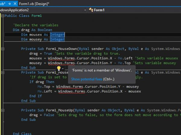 VS 2015 Move a borderless form - Not working anymore in 2015