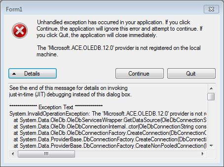 VS 2017 Issue with reading Access database-VBForums