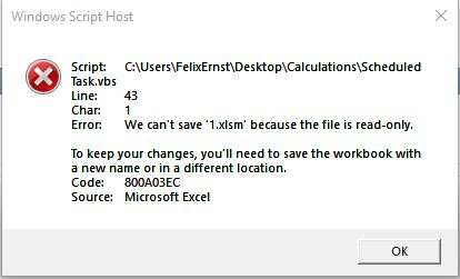 excel file is read-only error