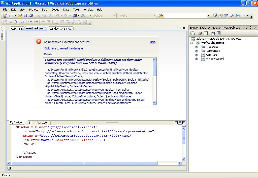 RESOLVED] Getting dirty with WPF: first exception-VBForums