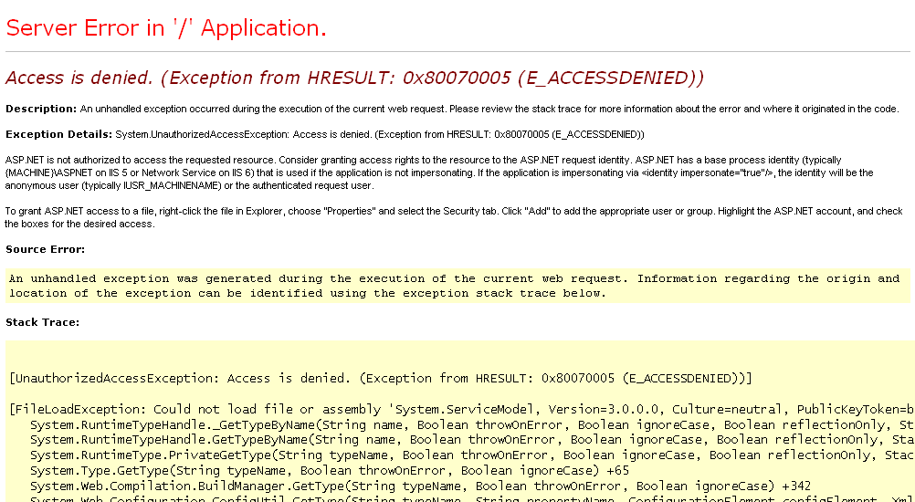 Access is denied  (Exception from HRESULT: 0x80070005