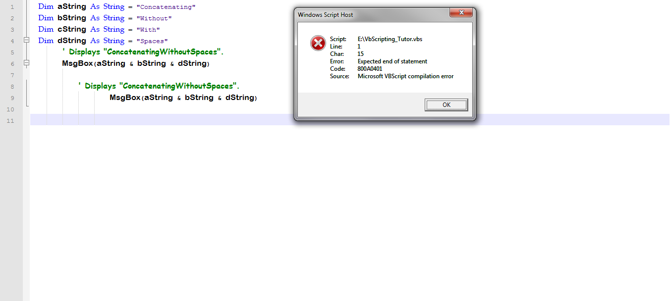 Error : Expected End of Statement-VBForums