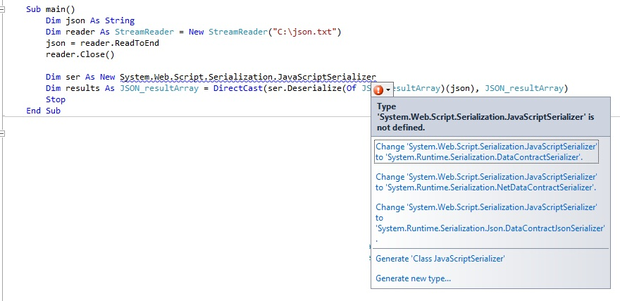 VS 2010 [RESOLVED] JSON to     -VBForums