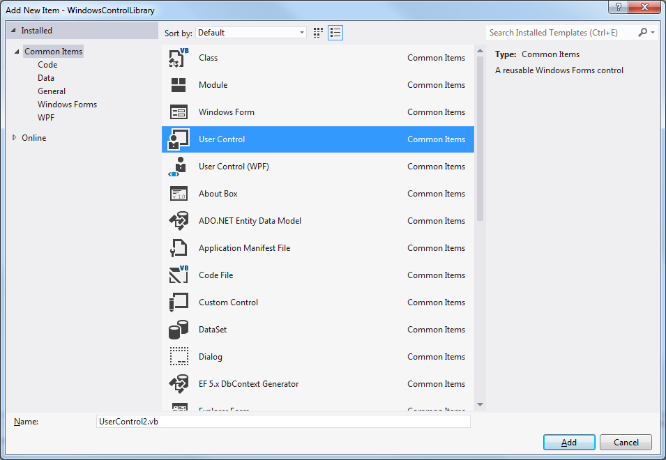 VS2012 Express Custom and User Control-VBForums on
